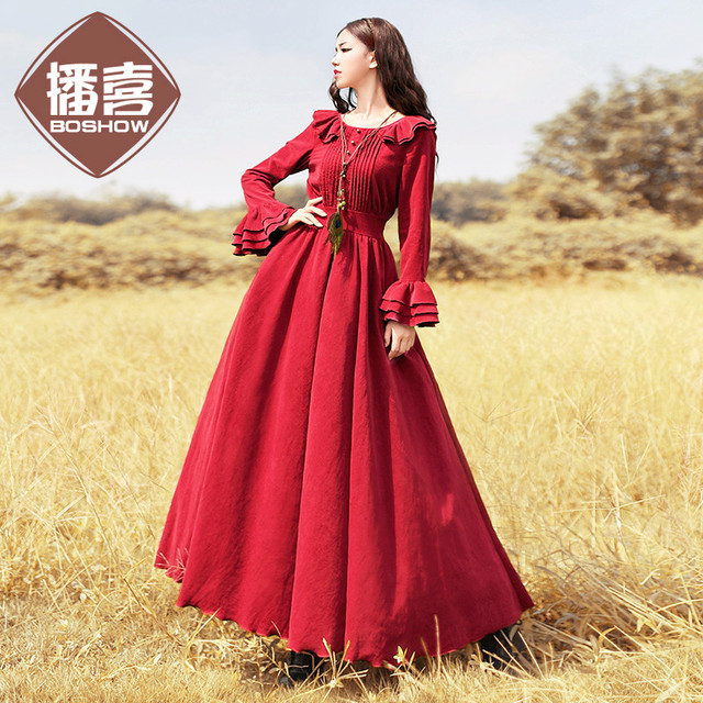 ce5c6f7135b  AIGYPTOS--BOSHOW Original Design Autumn New Women Vintage Palace Style  Slim Butterfly