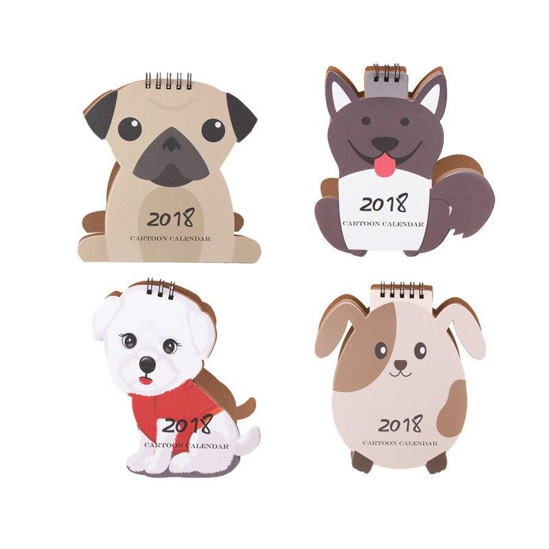 2018 Desktop-kalender Cartoon Hunde Weißes Kraftpapier Schöne Tiere Ideal Für Home Office Decor Ausgezeichnete Geschenk Kalender Kalender Office & School Supplies