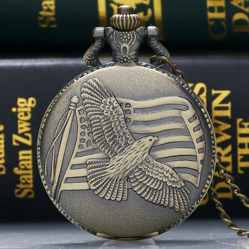 Antique Bronze US Flag Fob Clock Peace Dove Pocket Watch With Necklace Chain Free Shipping