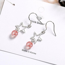 KOFSAC Romantic 925 Sterling Silver Earrings For Women Jewelry Crystal Pink Bead Hollow Star Female Birthday Presents