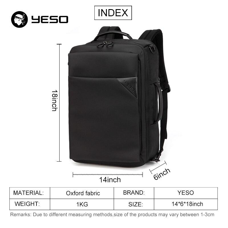 YESO Black Laptop Backpack Bags For Men 2018 Waterproof Anti-thefit Backpacks Multifunction 15.6 Inch Notebook Backpack Women