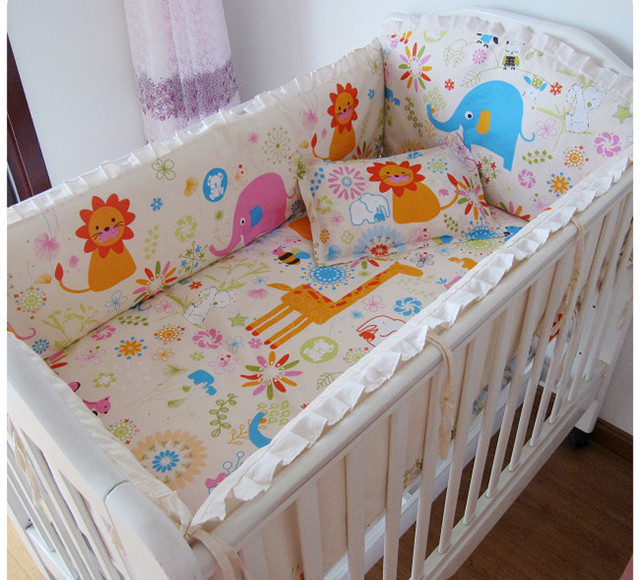 Promotion! 6PCS bedding set curtain berco crib bumper baby bed set (bumpers+sheet+pillow cover)