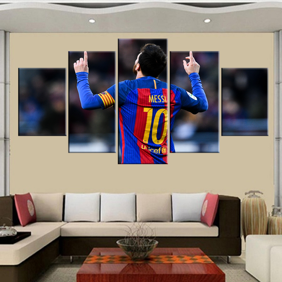 5 pezzo Fc Barcelona Messi tela stampata pittura per living picture wall art HD stampa decor opere d'arte moderna di calcio poster
