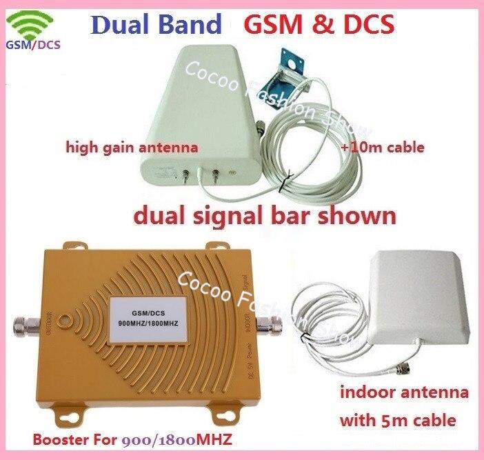 1 ensemble DCS 1800 MHz + GSM 900 Mhz double bande amplificateur de Signal de téléphone portable amplificateur de répéteur de Signal DCS GSM + antenne gsm