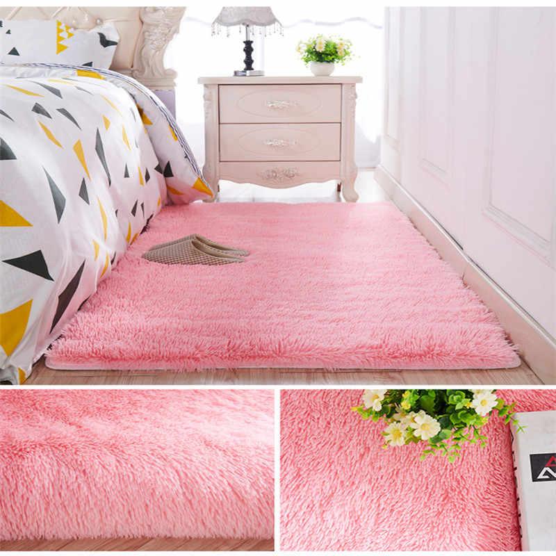 Sala de estar mesa de café cobertor estilo nórdico tapete de cabelo longo quarto cabeceira engrossado lavado cabelo de seda não-deslizamento