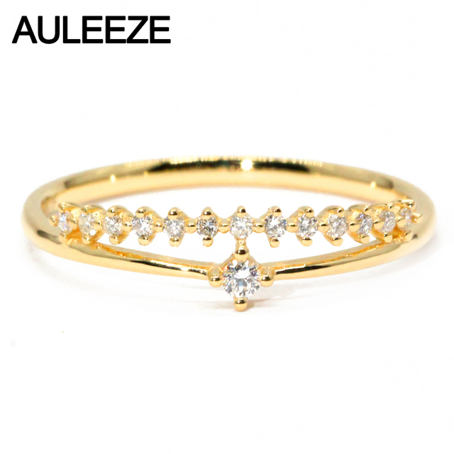 Solid K Yellow Gold Wedding Band  Ct Natural Diamond Ring Crown Design Simple Ring Real