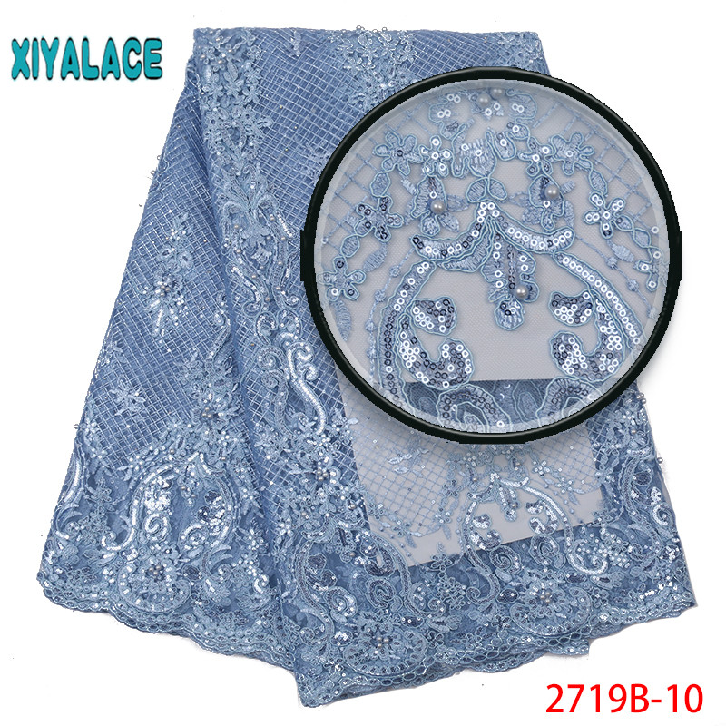 Latest African Lace 2019 Wedding Nigerian Lace Fabric With Sequins Embroidery Lace Trim For African Lace