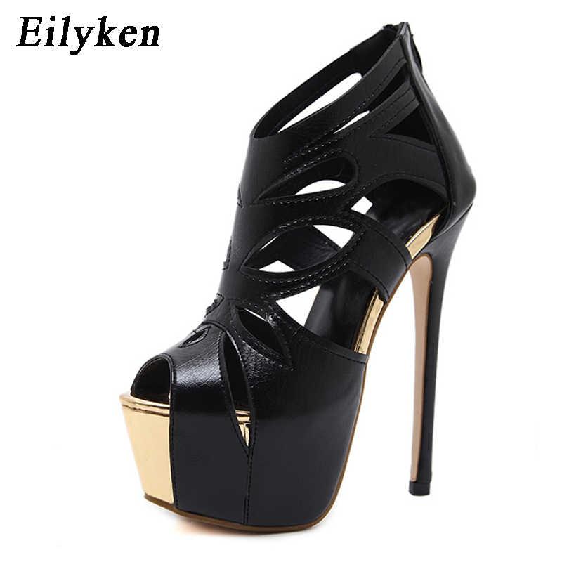 Eilyken Kadın Sandalet Süper Yüksek Topuk Açık Ayak Sandalet Kalın Topuk Moda Seksi Yüksek Topuklu Sandalet Ayakkabı Siyah