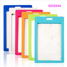 High quality plastic card sleeve ID Badge Case Clear Bank Credit Card Badge Holder Accessories Reels Key Ring Chain Clips(China)