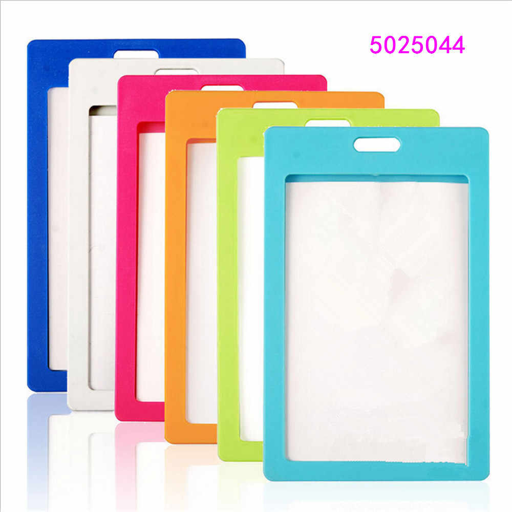 High quality plastic card sleeve ID Badge Case Clear Bank Credit Card Badge Holder Accessories Reels  Key Ring Chain Clips