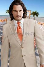 2016 Custom Design Two Buttons Beige Groom Tuxedos Notch Lapel Best Man Groomsman Men Wedding Suits (Jacket+Pants+Vest+Tie)P0098