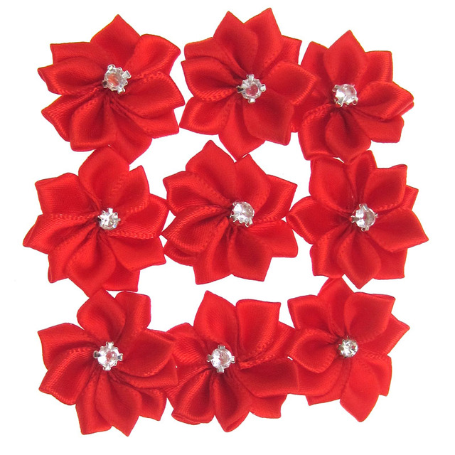 40pcs handmade red small satin flowers fabric flower rhinestone for 40pcs handmade red small satin flowers fabric flower rhinestone for craft wedding appliques accessories 28mm mightylinksfo