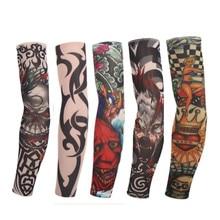 d975fd325 (10Pcs/Pack) New Mixed 92%Nylon Elastic Fake Temporary Tattoo Sleeve Designs  Body Arm Leg Stockings Tattoo for Cool Men Women