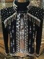 2015 o projeto Original de alta qualidade Masculino pérolas decoração magro Jaqueta de strass estrela DJ stage boate cantor terno traje