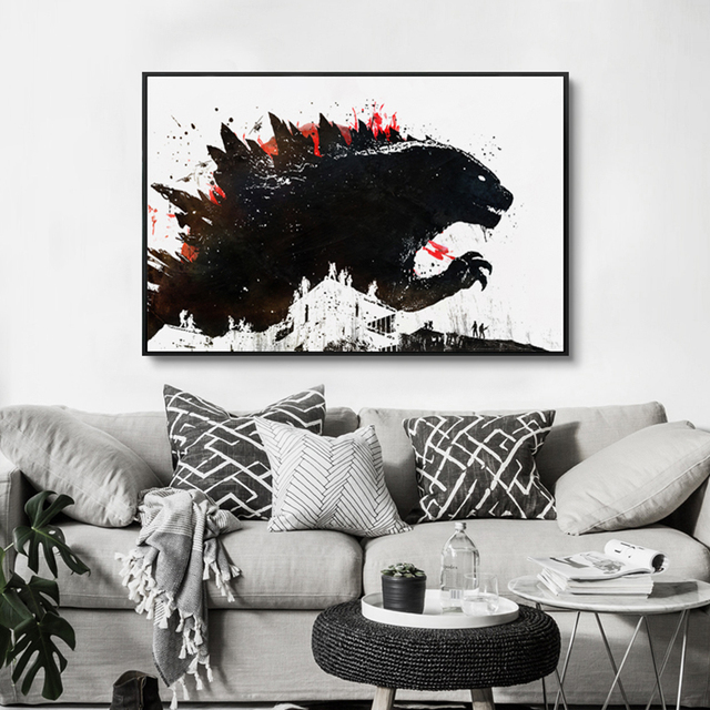 Godzilla Anime Film Movie Black And White Canvas Painting Art Print Poster Picture Wall Childrens Bedroom Decoration Decor