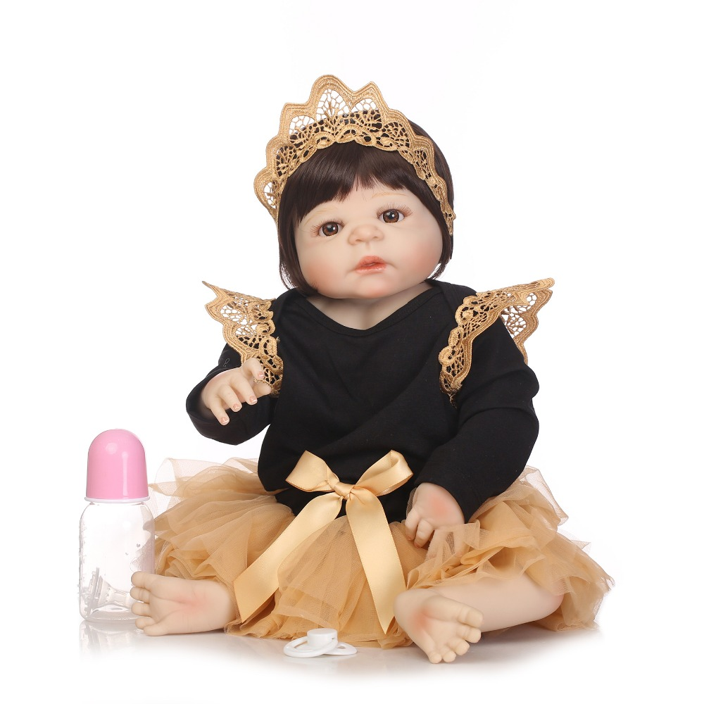 NPKCOLLECTION Full Vinyl Silicone Reborn Baby Doll Toys Lifelike Baby Reborn Princess Doll Child Birthday Xmas