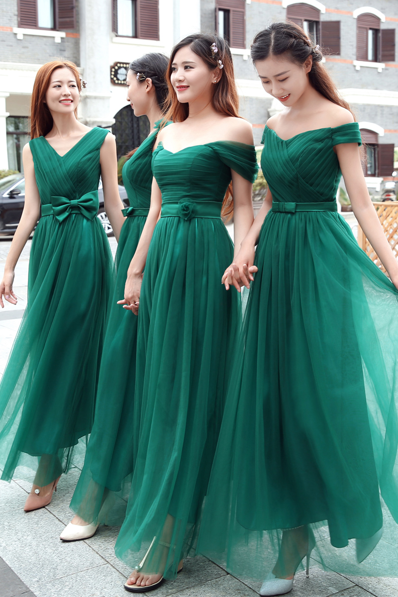 Sweet Memory 2018 Long Green Bridesmaid Dress Elegant Bride sister V ...