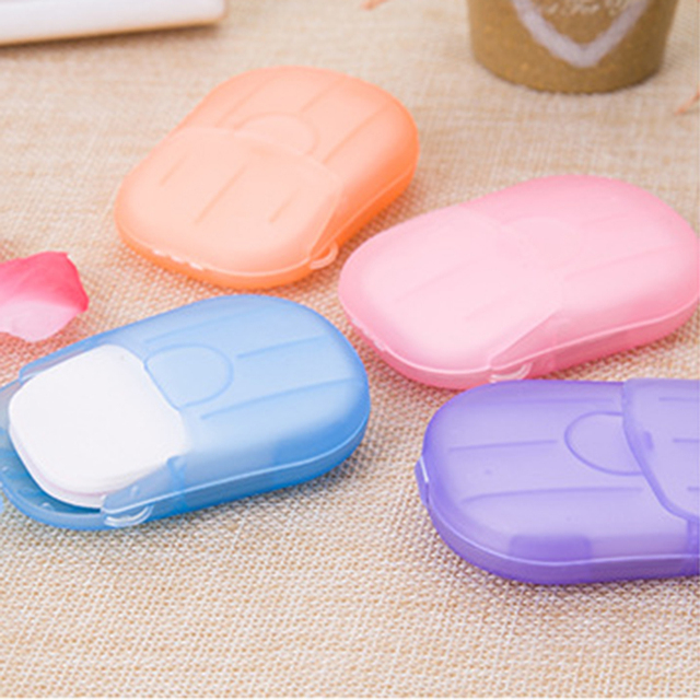 Y&W&F 20pcs Disposable Boxed Soap Paper Travel Portable Hand Washing Box Scented Slice Sheets Mini Soap Paper TSLM1