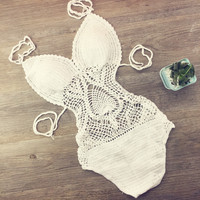 New Solid Monokini Halter Bandage Crochet One Piece Swimsuit Swimwear Women Bathing Suit Sexy Swimsuit Maillot