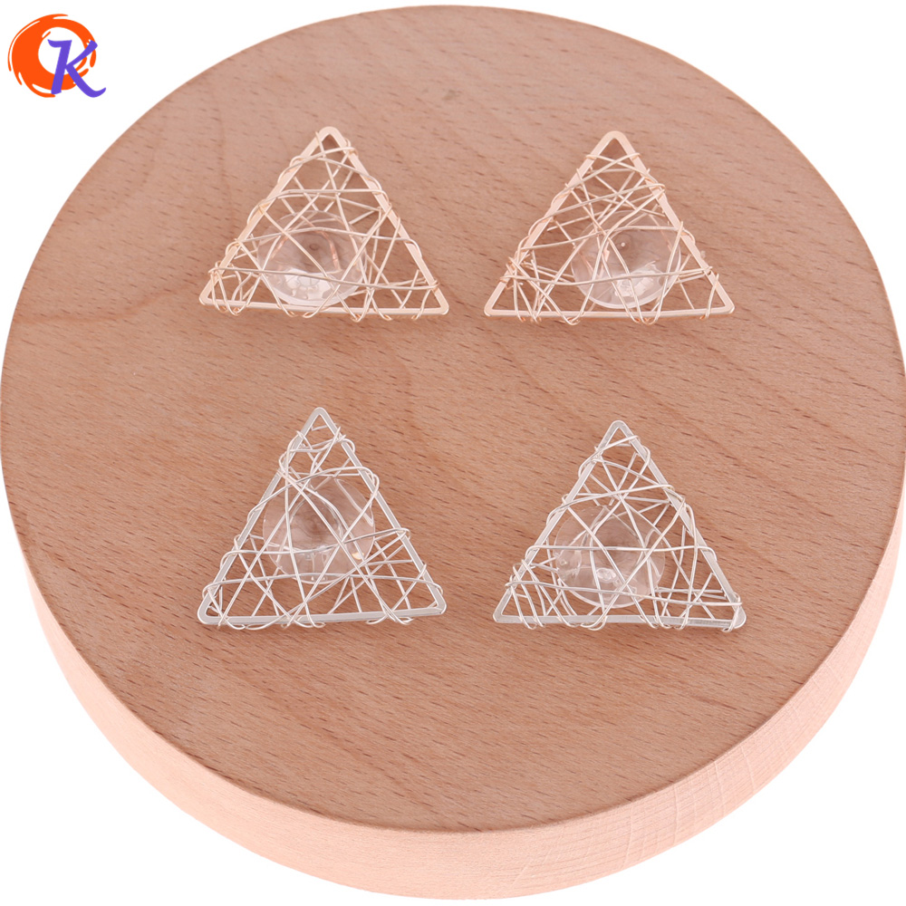Cordial Design 50Pcs 25*27MM Earring Findings/Earring Base Parts/Wire Enlace Charm Beads/Triangle/Hand Made/Jewelry Accessories
