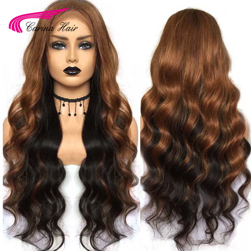 Carina Brazilian Lace Front Human Hair Wigs Pre-plucked Ombre 1b/33  Remy Hair Wavy With Highlights And Lowlights