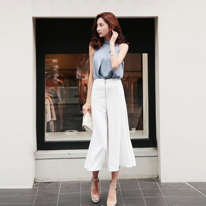 2 Pieces Set O neck Sleeveless Blouse and Zipper High Waist Wide Leg Pant Elegant Women