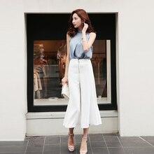 2 unidades Set o-cuello blusa sin mangas y cremallera alta cintura Pantalón  ancho pantalones mujeres elegantes Oficina señoras t. 1701d570af81