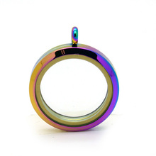 10pcs 30mm rainbow magnetic 316L stainless steel glass floating charms locket Memory Photo Charms Lockets Pendants