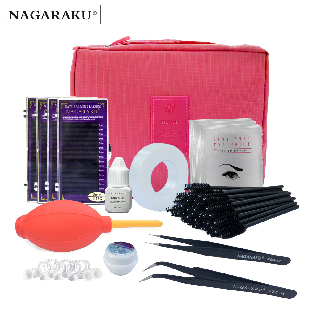 NAGARAKU NEW eyelashes extensions tools kit for beginner with glue eye pads tapes tweezers glue remover