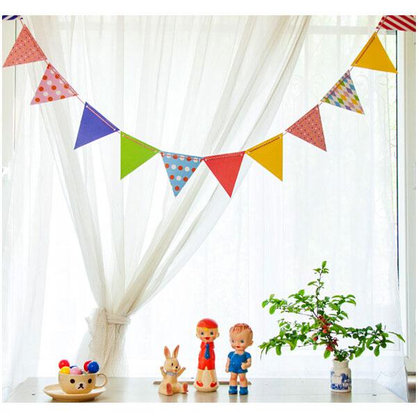 Bentoy Korean Cute Polka Dots Flags 12 Flags And 1 Thread Set DIY Deco Garland Flags Paper Arts