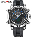 WEIDE Brand Luxury Fashion Men's Sports Quartz Watch PU Strap Blue Color Analog LCD Alarm Clock Men Waterproof Military Watches