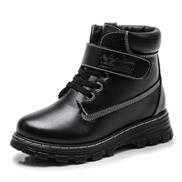 New Fashion Kids Autumn Winter Martin Boots For Children PU Leather Shoe Baby Girl Black Brown
