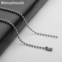WENUSHOUSHI 2.4mm thickness 50 60 70 80cm titanium beads chains necklaces for women jewelry gifts drop ship ok alloy wufj060(China)