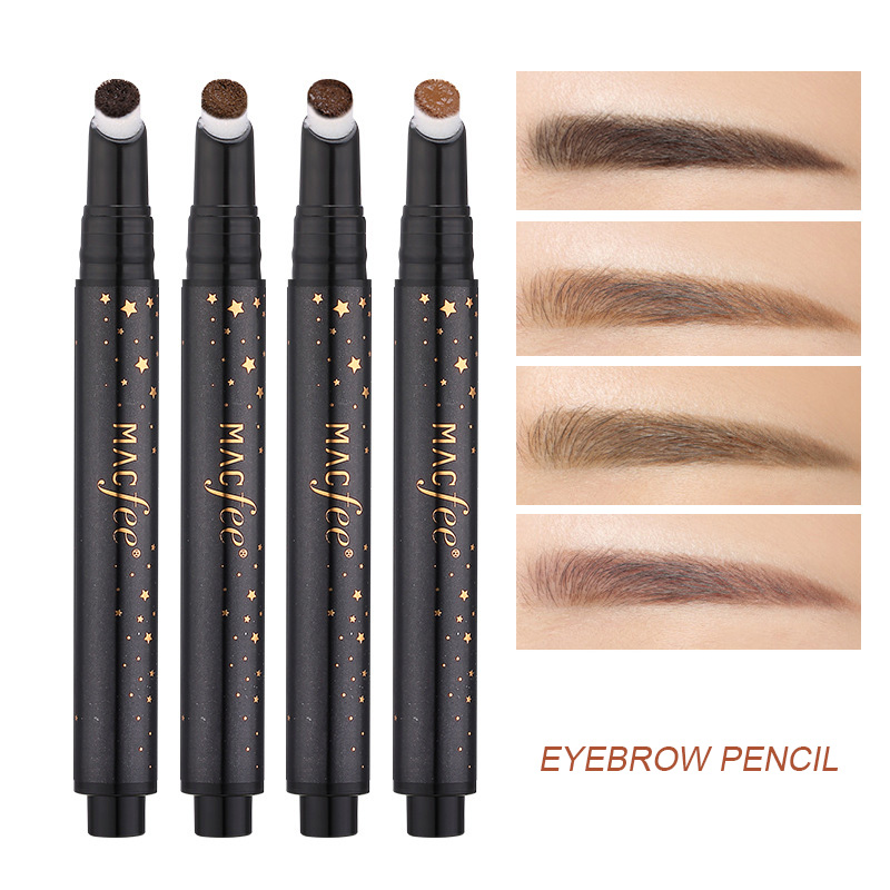 Waterproof Make Up Leopard Longlasting Eyeliner Eyebrow Eye Brow Pencil & Brush Light Coffee Hottest Eye Shadow Applicator