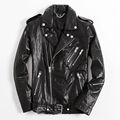 2017 Men Black Genuine Leather Motorcylce Jacket Diagonal Zipper Real High Quality Sheepskin Slim Fit Biker Coat FREE SHIPPING