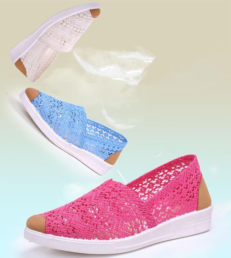 Free Shipping Women Casual Shoes Spring Summer Hollow Lace Flat Shoes Breathable Soft Women Shoes HSE12 (6)