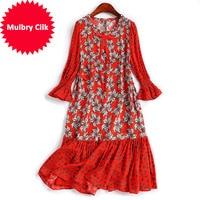 High Quality R58005 Real Silk Dress red Women Vestidos