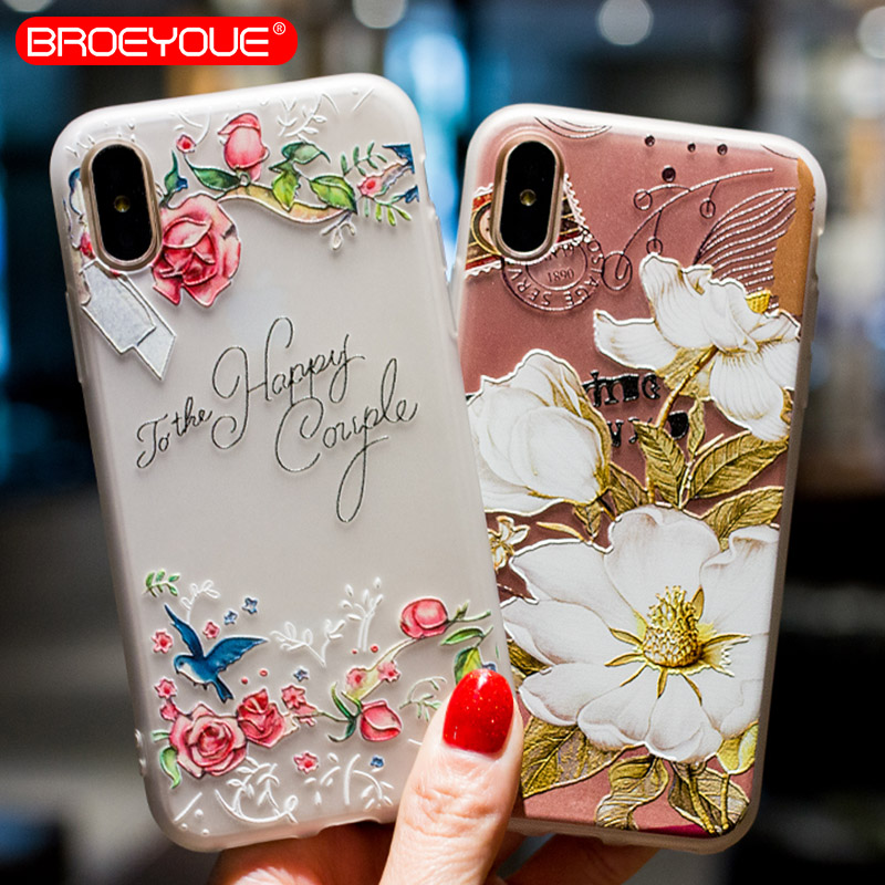 BROEYOUE Case For iPhone 5 5S SE 6 6S Plus Soft Silicone TPU Flower Floral Phone Case For iPhone X 7 8 Plus 3D Relief Case Cover