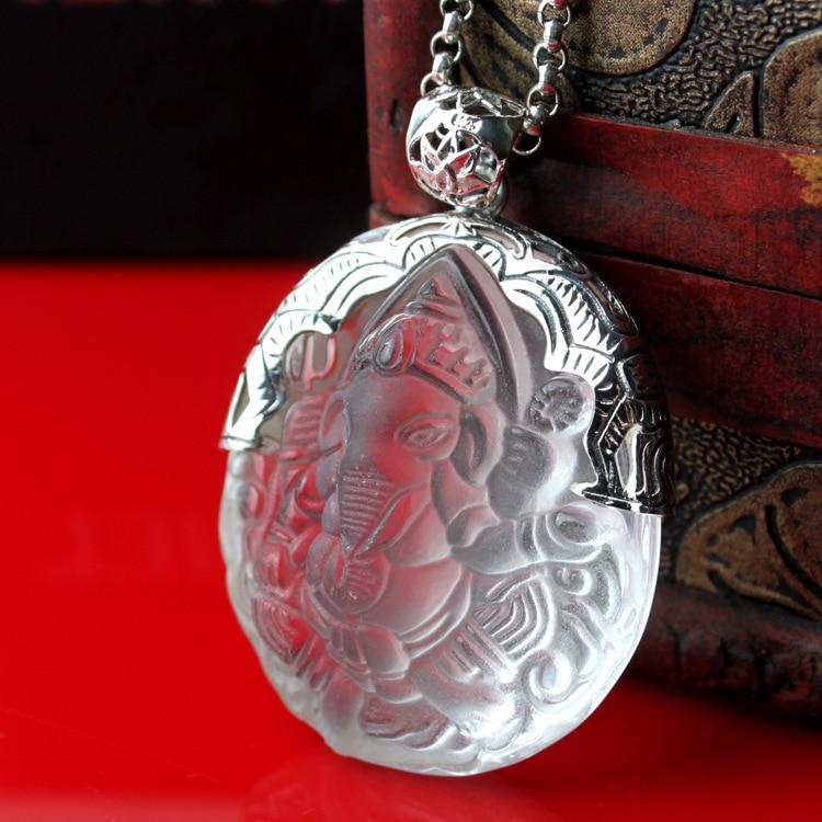 [ZABRA] 925 Sterling Silver Pendant Necklace lady decoration natural white crystal elephant god Pendant NEW[ZABRA] 925 Sterling Silver Pendant Necklace lady decoration natural white crystal elephant god Pendant NEW
