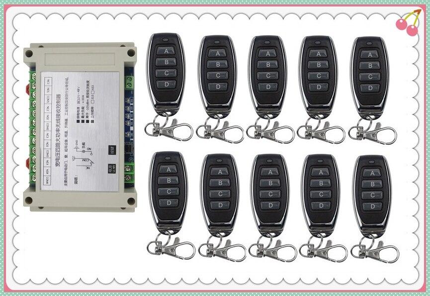 Wide voltage DC12V 24V 36V 48V 4CH 30A RF Wireless Remote Control Relay Switch Security System Smart home & 10* TransmitterWide voltage DC12V 24V 36V 48V 4CH 30A RF Wireless Remote Control Relay Switch Security System Smart home & 10* Transmitter