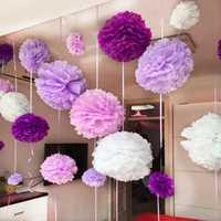 Borlas de papel de seda hechas a mano de 10 ''y 25cm para boda, Bola de Flor de Papel decorativa para Baby Shower, decoración para fiesta de cumpleaños, pompones de papel