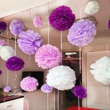 10''25cm Handmade Tissue Paper Pompoms Wedding Decorative Paper Flower Ball Baby Shower Birthday Party Decoration paper pom poms(China)