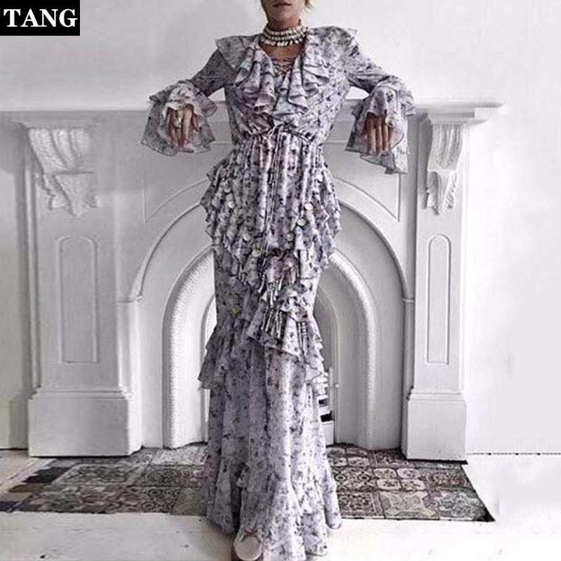 High Fashion Fairy Mosaic Long Dress Spring V-neck Sequined Ruffle Dress Casual Flower Floral Chiffon Maxi Dress (6)
