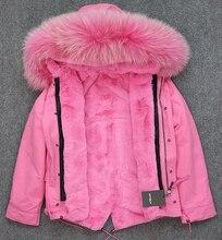 Большой мех енота капот розовый зимняя куртка женщины куртка природный настоящее шуба для женщин толщиной мягкая подкладка abrigos де piel mujer 2016