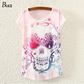 2015 harajuku summer style new women T shirts Pink Skull Punk Singlet Dress Vintage short sleeve Pop Sexy Top long Tee T-Shirt