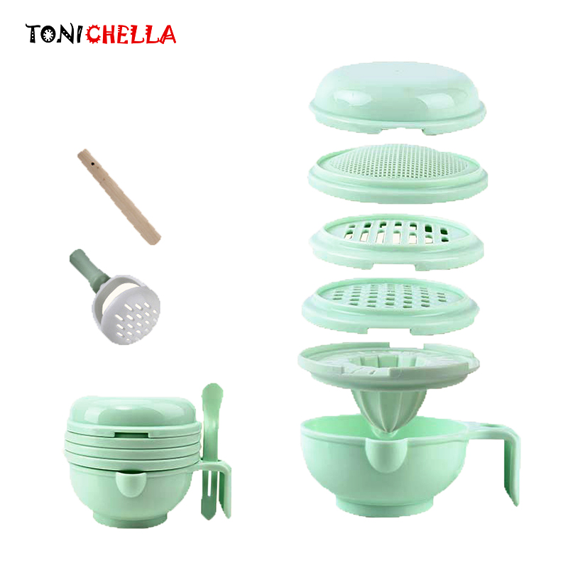 Baby Grinding Food Supplement Feeding Grind Food Dishes Hygiene Kit Nibbler Infants Handmade Manual Plate Cooking Tools T0372