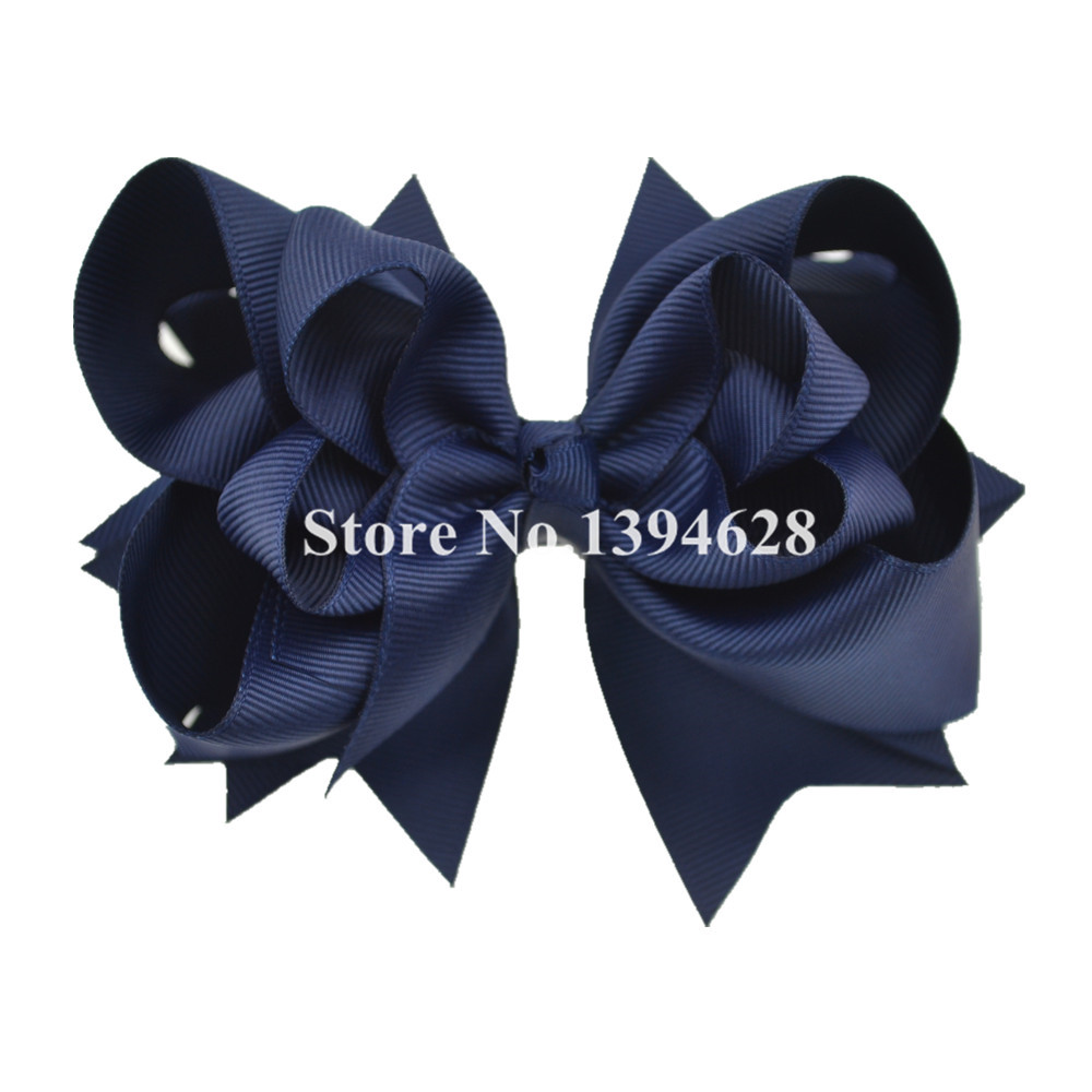 $1/1PCS 5 inches 3 Layers Solid Navy Baby Bows With 6cm Clips Boutique Ribbon Bows For Girls Hair Accessories