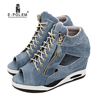 Womens Casual Sandals Denim Zipper Height Increasing Shoes Sports Wearing Comfortable Solid Color Hollow Out Womens Casual Sandals Denim Zipper Height Increasing Shoes Sports Wearing Comfortable Solid Color Hollow Out