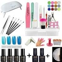 Nail set dryer UV LED light and UV gel varnish Polish top base coat manicure tool 4 color nail polish nail cover