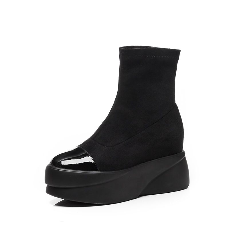 Ayakk.'ten Ayak Bileği Çizmeler'de Krazing Pot hakiki deri akın likra temel çizmeler platformu punk rock tasarımcı yuvarlak ayak kayma bayan streç yarım çizmeler L19'da  Grup 3